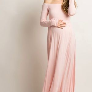 Pink blush maternity pink off the shoulder maxi